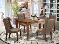 5-Pc Kitchen Dining Room Set-1 Table and 4 chairs- Antique Walnut Finish - 1