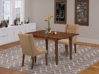 3-Pcs Dining Table Set-1 Butterfly Leaf Table and 2 Light Sable Fabric Chair - 1