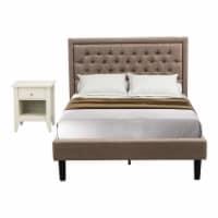 East West Furniture 2-piece Wood Platform Bedroom Set in Dark Khaki Brown/Cream - 1
