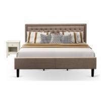 East West Furniture 2-piece Wood King Bedroom Set in Dark Khaki Brown/Cream - 1