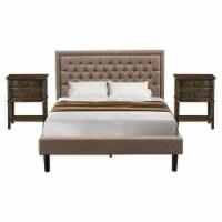 East West Furniture 3-piece Wood Queen Bedroom Set in Dark Khaki Brown/Black - 1