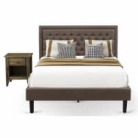 East West Furniture 2-piece Traditional Wood Queen Bedroom Set in Brown Finish - 1