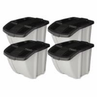 Suncast BH188810 18 Gallon Indoor or Outdoor Recycle Storage Bin, Gray (4 Pack) - 1 Piece