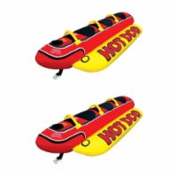 AIRHEAD Hot Dog Triple Rider Towable Inflatable 3 Person Boat Lake Tube (2 Pack)