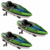 Intex Challenger K1 1-Person Inflatable Sporty Kayak w/ Oars And Pump (3 Pack) - 1 Piece