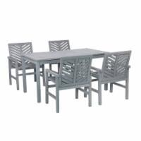 5-Piece Chevron Outdoor Patio Dining Set - Grey Wash - 1