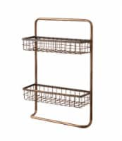Copper Finished 2 Tier Metal Wire Wall Shelf with Towel Holder - One Size