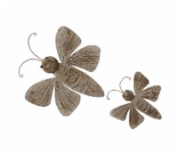 Set of 2 Weathered Brown Finish Dragonfly Wall Hangings Indoor / Outdoor Farmhouse Decor - One Size