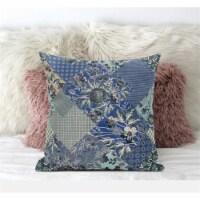 Amrita Sen Arizona Floral Patches 18 x18  Suede Pillow in Grey Pink - 1