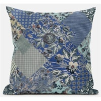 Amrita Sen Arizona Floral Patches 20 x20  Suede Pillow in Grey Pink - 1