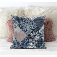"Amrita Sen Arizona Floral Patches 18""""x18"""" Suede Pillow in Light Blue"