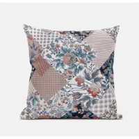 """Amrita Sen Arizona Floral Patches 18""""""""x18"""""""" Suede Pillow in White Pink"""