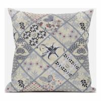 Amrita Sen Fall Patch Snowflowers 18 x18  Suede Pillow in Dark Green Peach - 1
