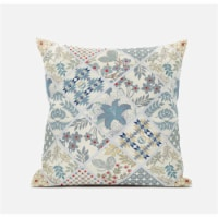 "Amrita Sen Fall Patch Snowflowers 16""""x16"""" Suede Pillow in Light Grey Cream"