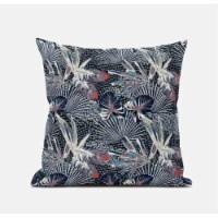 Amrita Sen Plant Illusion 20 x20  Suede Pillow in Dark Blue - 1