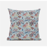 Amrita Sen Roses Sprayed Stars 18 x18  Suede Pillow in Gray Indigo Red - 1