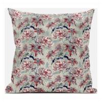 Amrita Sen Roses Sprayed Stars 18 x18  Suede Pillow in Red Aqua - 1