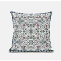 Amrita Sen Jahan Paisley 16 x16  Suede Pillow in Indigo Peach - 1