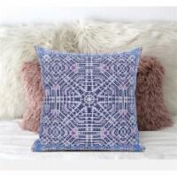 Amrita Sen Geostar Wreath Palace 16 x16  Suede Pillow in Indigo Hot Pink - 1