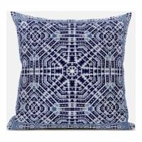 Amrita Sen Geostar Wreath Palace 20 x20  Suede Pillow in Indigo White Green - 1