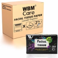 WBM Care Facial Tissue, Ultra Soft with Lavender Fragrance, 2-Ply | 200 Sheets/Box-Pack of 18 - 18 count