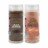 Himalayan Chef Salt & Pepper, Fine Salt, Black Pepper Glass Shaker, Kosher & Vegan – Set of 2 - 2 Count