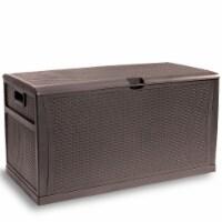Outdoor 120 Gallon Storage Deck Box Resin Storage Bin Container Box