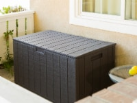 Outdoor All-Weather 130 Gallon Deck Box Resin Wood Look Storage Container - 1 Unit