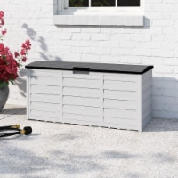 All Weather Outdoor Patio Deck Box Storage Shed Bin w/ Wheel