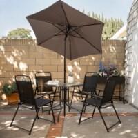 6pcs Dining Set Patio Outdoor Set w/ Table Umbrella 4 Folding Chairs Table - 1 Unit