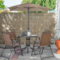 6pcs Outdoor Dining Patio Set with Table Umbrella, 4-Folding Chairs - 1 Unit