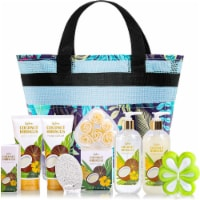 """""""10 Pcs Coconut Bath and Body Gift Set, Gift Basket for Women"""" - 11x6x11"""