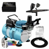 Dual Fan Air Compressor System with Master Pro Plus Airbrush Set, Case, 0.3mm Tip, 2 Cups - Airbrushing System