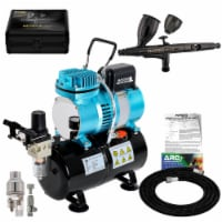 Dual Fan Air Tank Compressor System Kit with Master Pro Plus Airbrush Set, Case, 0.3mm Tip - Airbrushing System