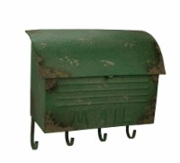 Rustic Green Vintage Style Metal Mailbox Decorative Wall Hook Hanging 16 Inch - One Size