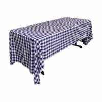 LA Linen TCcheck60x120-RoyalK50 Polyester Gingham Checkered Rectangular Tablecloth, White & R - 1
