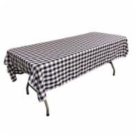 LA Linen TCcheck60x102-RoyalK50 Polyester Gingham Checkered Rectangular Tablecloth, White & R - 1