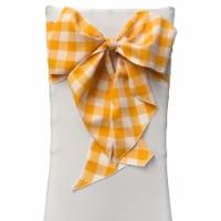 LA Linen TCcheck8x108-Pk10-DrkYellowK47 Gingham Checkered Chair Bows, White & Dark yellow - 8