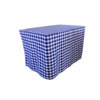 LA Linen TCcheck-fit-48x24x30-RoyalK50 Fitted Checkered Tablecloth, White & Royal Blue - 48 x