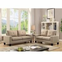 ACME Platinum II Sofa and Loveseat in Beige Linen - 1
