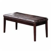 Saltoro Sherpi Wooden Bench With Tufted Leatherette Seat, Dark Walnut & Espresso Brown - 1 unit