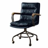 ACME Hedia Leather Swivel Office Chair in Vintage Blue - 1