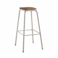 Saltoro Sherpi Industrial Style Metal Frame Wooden Bar Stool, Brown and White, Set of Two - 1 unit