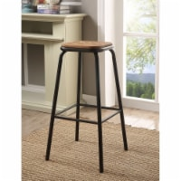 Saltoro Sherpi Industrial Style Metal Frame Wooden Bar Stool, Brown and Black, Set of Two - 1 unit
