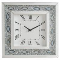 Saltoro Sherpi Wood & Mirror Square Analog Wall Clock, White - 1 unit