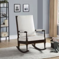 Saltoro Sherpi Wooden Rocking Chair with Fabric Upholstered Cushions, White and Brown - 1 unit