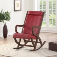 Saltoro Sherpi Faux Leather Upholstered Wooden Rocking Chair with Looped Arms, Brown and Red - 1 unit