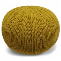 Simpli Home Shelby Boho Round Hand Knit Pouf in Mustard Cotton - 1