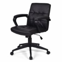 Simpli Home Brewer Faux Leather Adjustable Swivel Office Chair in Black - 1