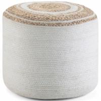Simpli Home Serena Boho Round Braided Pouf in Natural Cotton - 1